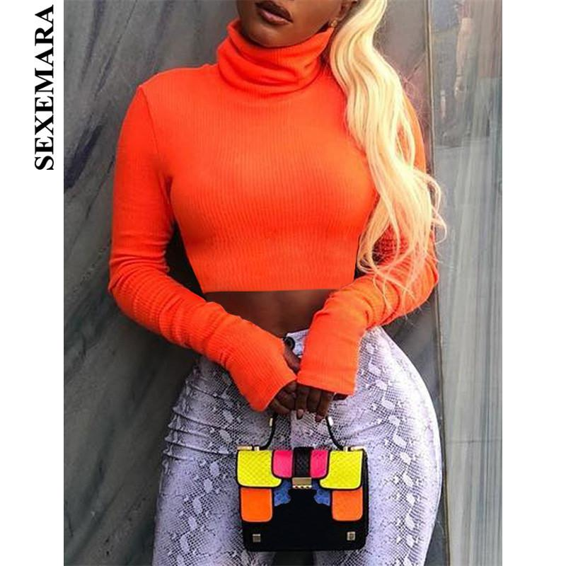 BOOFEENAA Neon Color Turtleneck Crop Top Long Sleeve Shirt Women Sexy Slim Autumn Winter Street Tops Tshirt Streetwear C70-I23 T5190606