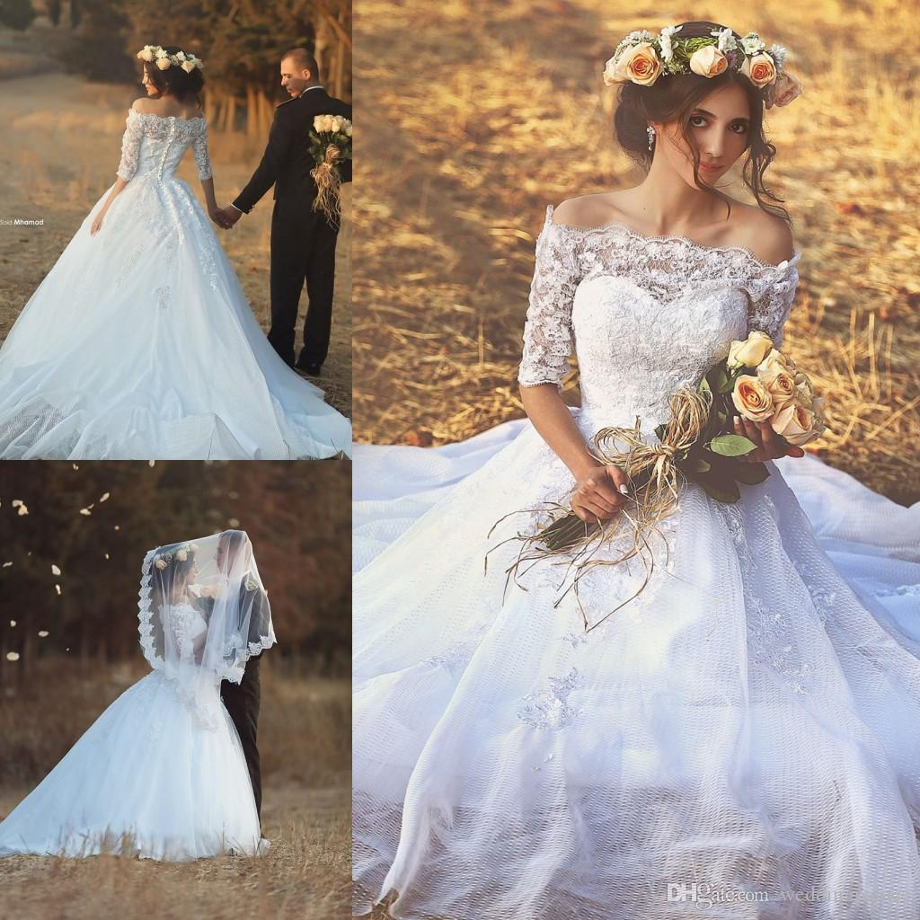 Fashion Half Sleeve A-line Wedding Dresses Button up Back Net Appliques Middle East Bridal Dress Wedding Gowns