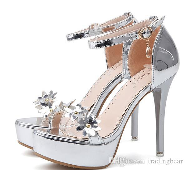 a68ed2a7566 2019 Silver Flower Ankle Strappy Platform High Heels Wedding Shoes Bride  Sandals Size 34 To 39 Wedges Espadrilles From Tradingbear