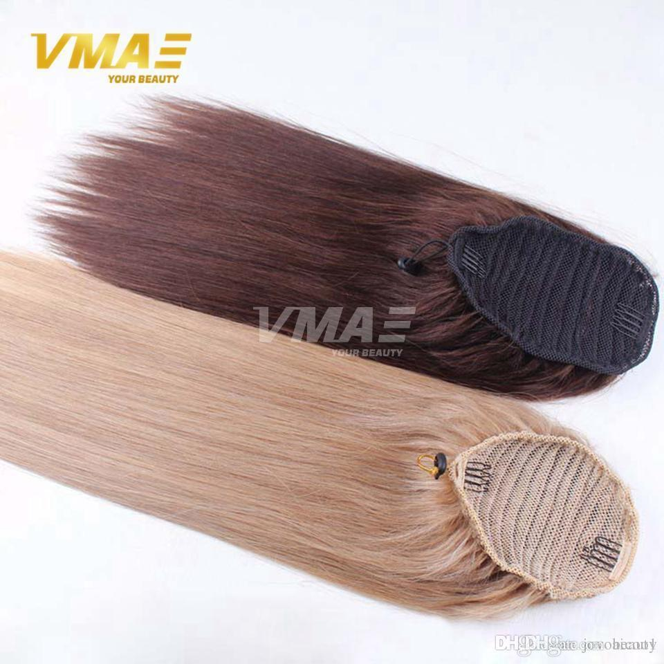 Color Straight virgin raw human Pony tail Natural horse tail horsetail tight hole Clip In Drawstring Ponytail Hair Extensions