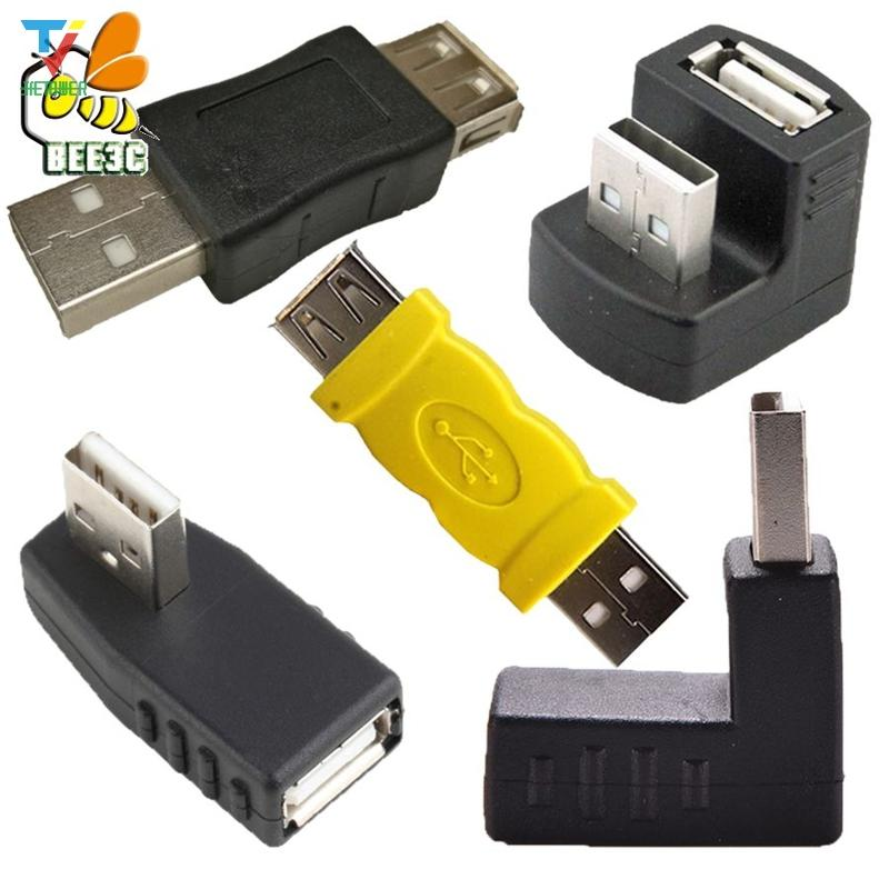 USB 2.0 A male to female angled Connector adapter USB 2.0 black yellow Connector for laptop PC Computer Black 500PCS/LOT