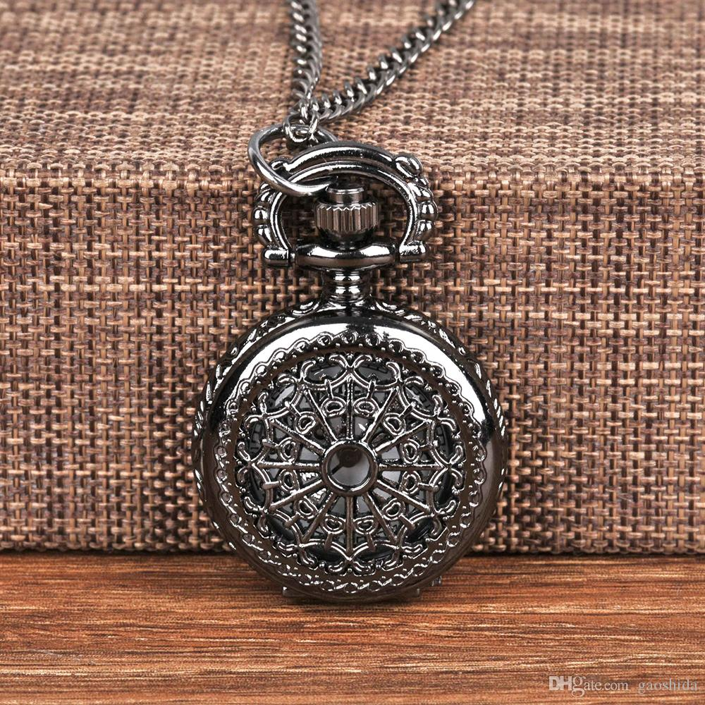 Vintage Charm Sliver Unisex Fashion Roman Number Quartz Steampunk Pocket Watch Women Man Necklace Pendant with Chain Gifts