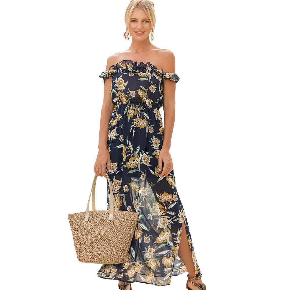 60da5c399578 Sexy Women Maxi Boho Dress Off Shoulder Floral Print Split Summer Beach  Dress Holiday Chiffon Long Dress Blue Vestido Longo 2019 Women Summer  Dresses White ...