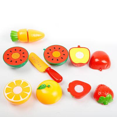 Baby Kid Plastic Kitchen Miniature Food Toy Set Childern Pretend Play Toy Cut Fruit Vegetable Toys Set Funny Cutting with Basket