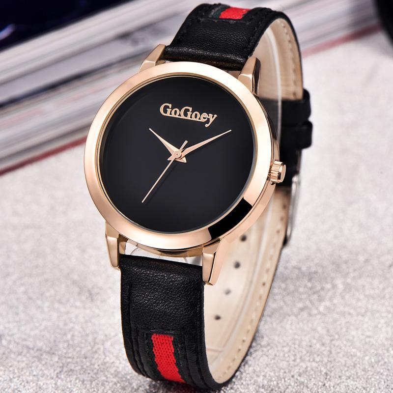 570aae65edda Compre Reloj De Cuarzo Mujeres Gogoey Marca Relojes De Cuero De Lujo  Señoras Populares Casual Moda Reloj De Oro Relogios Femininos Reloj Mujer A   15.73 Del ...