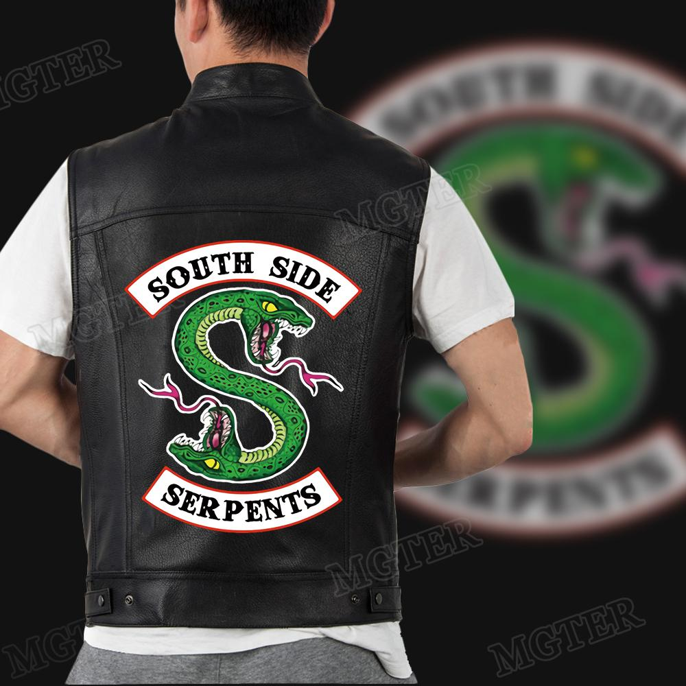 2019 New Mens Riverdale Serpents PU Leather Jackets Streetwear Leather Coats Jacket For Men Southside Riverdale Serpents Print