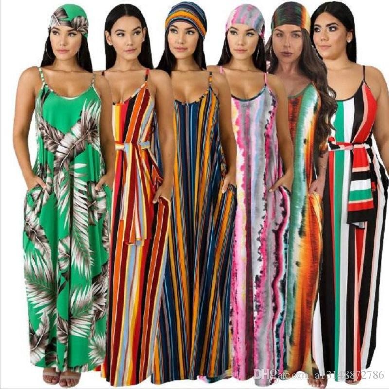 Plus Size Langes Maxikleid Frauen Striped Print Boho Bohemian Strandkleid Spaghettibügel Bandage Sexy Club Party Kleider