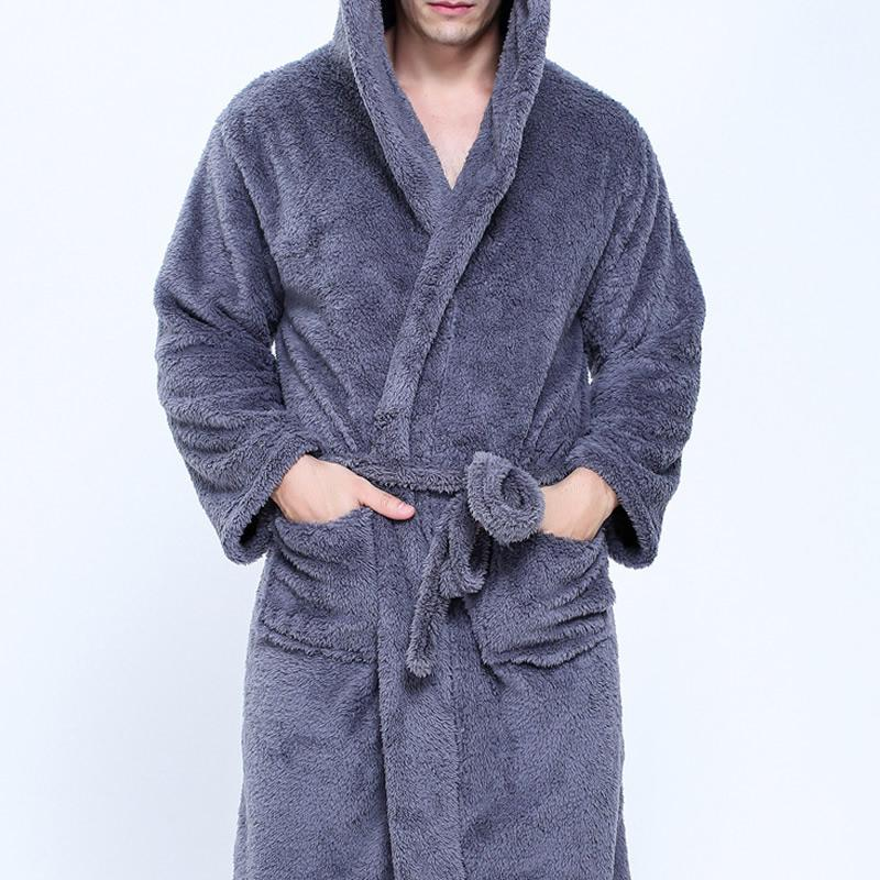 f79a0b7789 Couple Dressing Gowns For Men Women Warm Super Soft Flannel Coral Fleece  Long Bath Robe Mens Kimono Bathrobe Male Robe Hooded UK 2019 From  Clothfirst