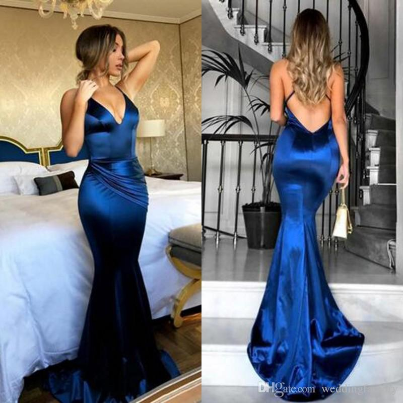 586dd34e997 2019 Sexy Fitted Mermaid Evening Dresses Spaghetti Straps Criss Cross Back  Blue Ruched Pleated Prom Party Gowns Custom Made Sweep Train Ladies  Clothing ...