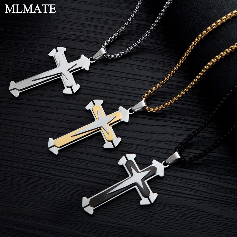 07b6bbd3c6e0 2019 Men S Cross Necklace Gold Silver Black 3 Layer Knight Cross Pendant  Stainless Steel Chain Necklace Hip Hop Male Jewelry From Clintcapela