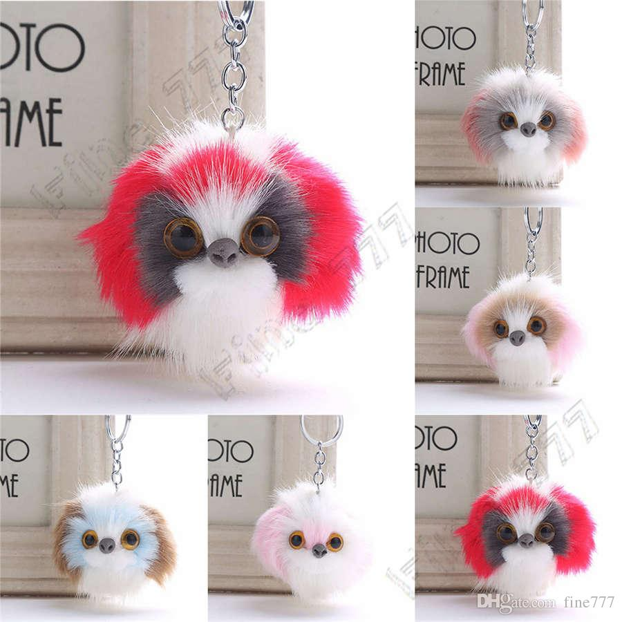 Fluffy Faux Rabbit Fur Keychain Key Ring 5 Styles Pom Pom stuffed animals Dog Keychains Car Bag Pendant Key Chain Charms For Women