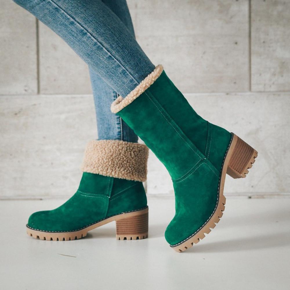 b9dde6ee0 Compre Mulheres Botas Femininas Sapatos De Inverno Mulher De Pele Quentes  Botas De Neve Botas De Salto Quadrado Tornozelo Plataforma Botas Mujer  Preto De ...