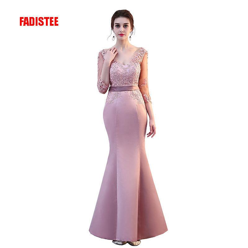 Fadistee New Arrival Elegant Party Mermaid Prom Dresses Evening Dress Vestido De Festa Gown Lace Sexy Satin Long Formal Y190525