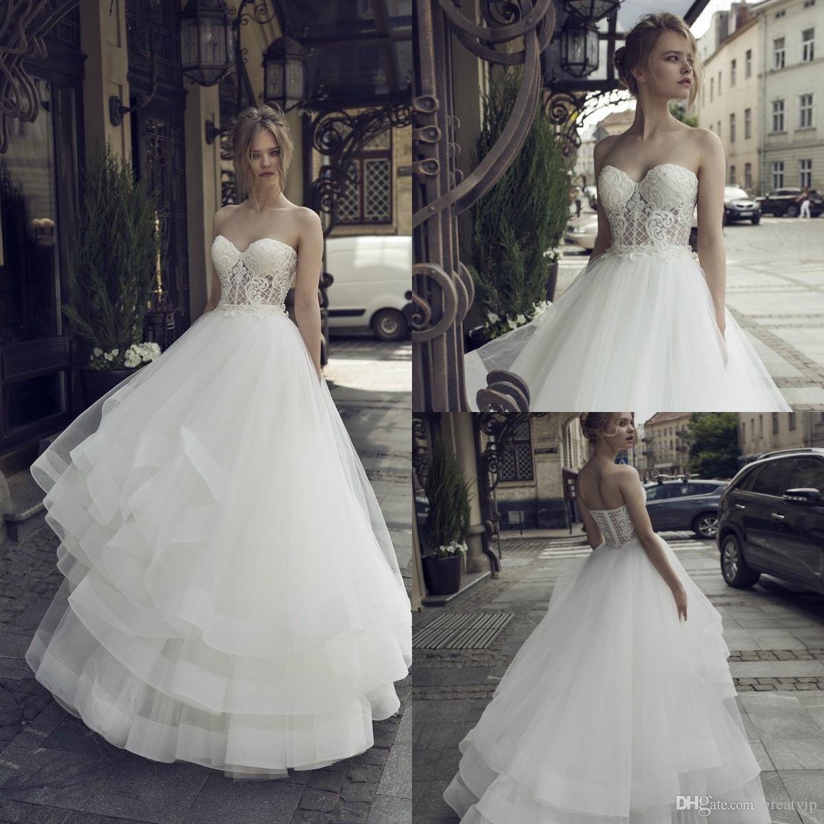 3b96366d0e 2019 Riki Dalal A Line Wedding Dresses Sweetheart Lace Applique Beads  Ruffles Bridal Gowns Plus Size Tulle Sweep Train Bridal Gowns Vestidos