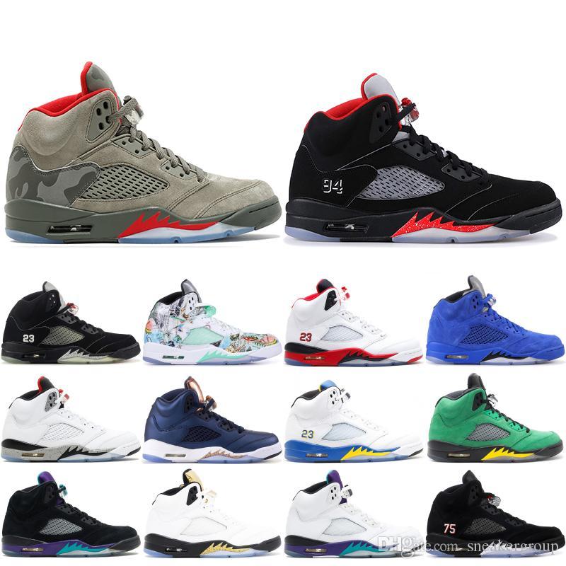 5a74e636c9 Acquista 2019 Mens Nike Air Jordan Retro 5 5s Scarpe Da Basket Camo Seme  Nero Olimpico Oro Blu Scamosciato Pro Stars Scarpe Sportive Sneakers  Designer ...