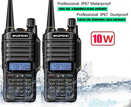 2pcs walkie talkie IP67 Dustproof Waterproof CB Radio Communicator baofeng  uv-9r plus for hf 2 way ham radio kit scanner