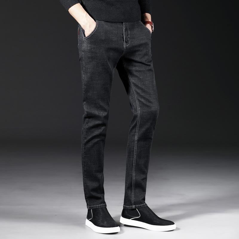 Acquista 2019 Jeans Uomo Nuovo Di Zecca Moda Uomo Casual Slim Fit Dritto  Alto Stretch Piedi Jeans Skinny Uomo Nero Vendita Calda Pantaloni Maschili  A $39.85