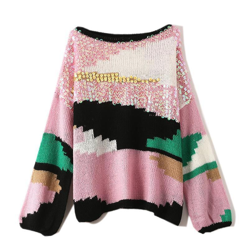 women pullover sweater sequined pullover long sleeve mesh female sweaters womens jumper knitted clothing