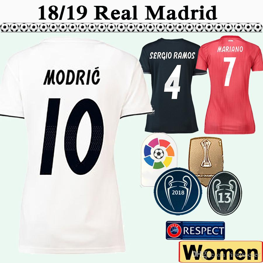 2019 18 19 Real Madrid MARIANO MODRIC Women Soccer Jerseys MARCELO SERGIO  RAMOS Home Away 3rd Football Shirts BENZEMA Lady Camisetas De Fútbol From  ... 18f9c526e