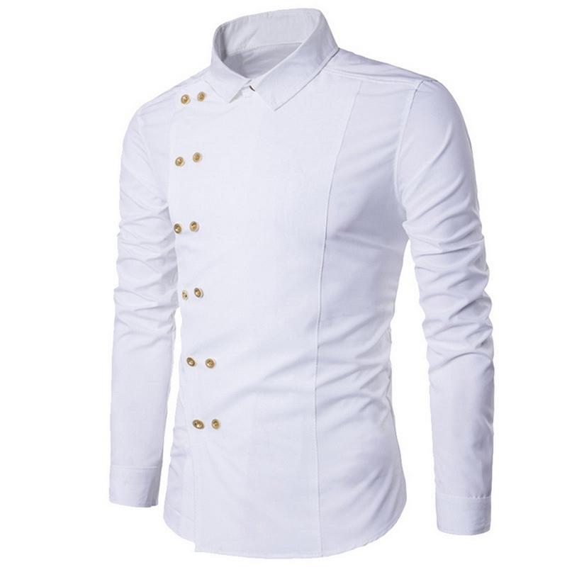 e57efe5e99 Acquista Camicia Uomo Laamei Doppiopetto Falso In Due Camicia Formale Tinta  Unita Slim Fit Camicie Maniche Lunghe In Cotone Da Uomo Casual Formale A  $22.21 ...