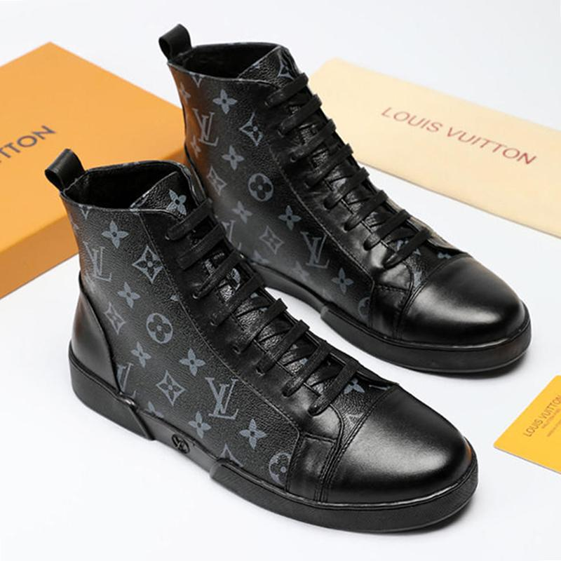 a361438f11 High Top Sneakers Men Casual Shoes Lace Up Fashion Men Shoes Trainers  Zapatos De Hombre Offshore Sneaker Boot Ankle Boots Leather Big Size Boots  Shoes Ankle ...