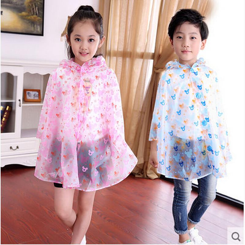 Free shipping Children raincoat poncho boys and girls rainwear with inflatable hat baby protection cloak