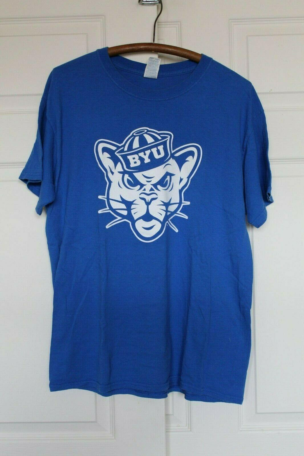 Brigham Young Utah Mens L Grouchy Cougar Blue Cotton University S/S T SHIRT Tee