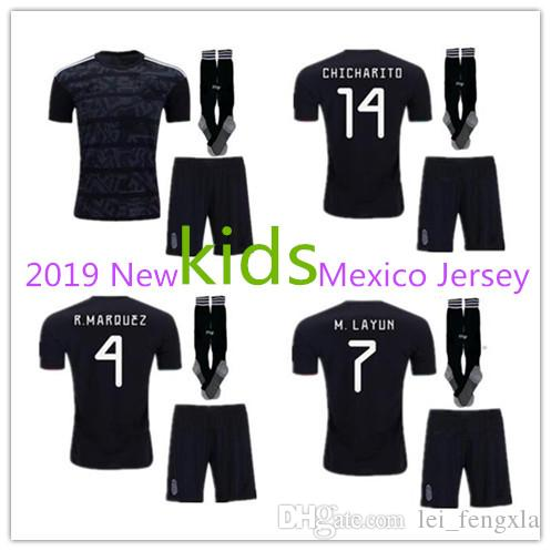 7346dc8d512 2019 Kids Kits 2019 2020 Gold Cup Mexico Soccer Jersey Black 19 20  CHICHARITO H. LOZANO Youth Child Football Jerseys Set Mexico Shirts Kits  From Lei fengxla ...