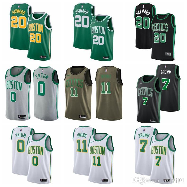 new concept 884f1 defef 2018-2019 Boston Men's Celtic jersey Swingman ball Jersey 11 Kyrie Irvings  7 Brown 20 Hayward 42 Horford 0 Tatum