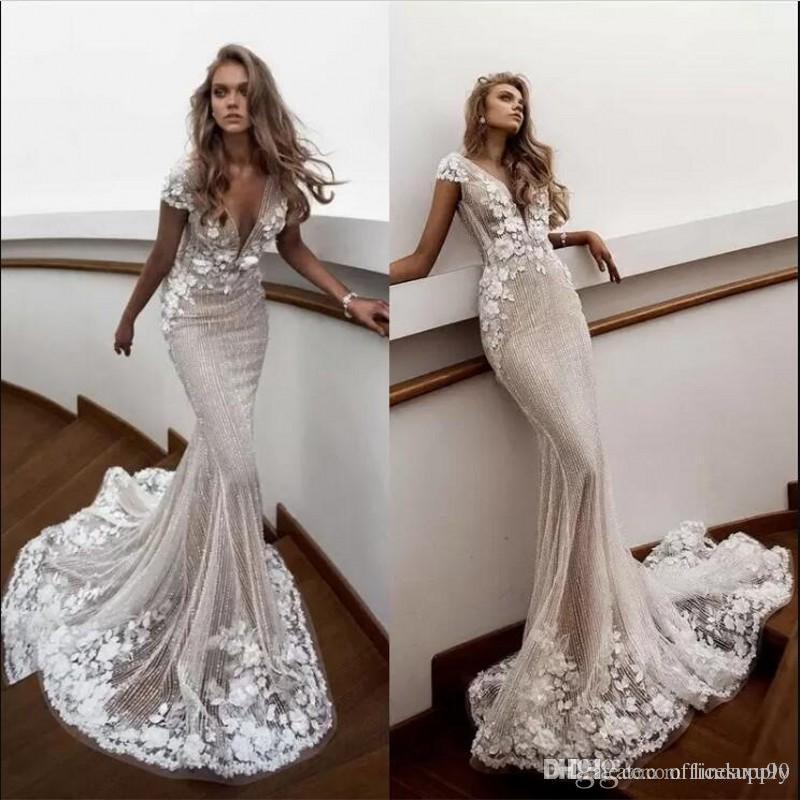 53e6cad5a52 2019 Designer Berta Mermaid Wedding Dresses Deep V Neck Sweep Train 3D  Floral Applique Beading Cap Sleeve Bridal Dress Boho Wedding Gowns Wedding  Lace Dress ...