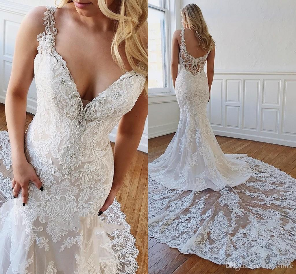 Gorgeous Lace Mermaid Wedding Dresses 2019 Sexy V Neck Backless Appliqued Chapel Train Formal Church Garden Bridal Gowns Custom Made