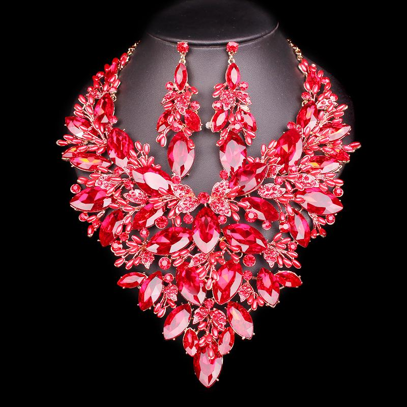 Big Crystal Bridal Jewelry Wedding Party Costume Accessory Indian Necklace Earrings for bride Gorgeous jewellery Sets Women C19010301