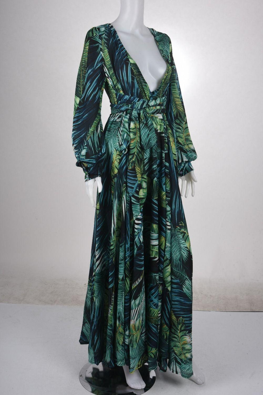 7f022b7a3fc41 2018 new Women Long Sleeve Dress Tropical Print Vintage Maxi Dresses Boho  Casual V Neck Belt Lace Up Tunic Draped Plus Size Dres Y19042401