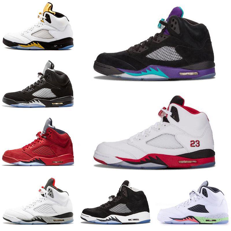 a92aab43b42 Nike air jordan 5 5s mens tênis de basquete 5 5 s preto uva fogo vermelho  terno de voo de prata cdp espaço atolamento oreo sport sneakers tamanho 7-13