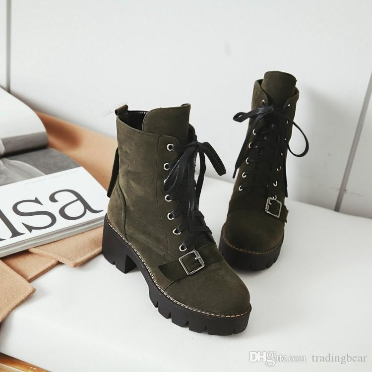 Big small size 34 to 40 41 42 43 Fashion Luxury Designer Women Shoes Winter Boots Chunky Heels Beige Black Army Green