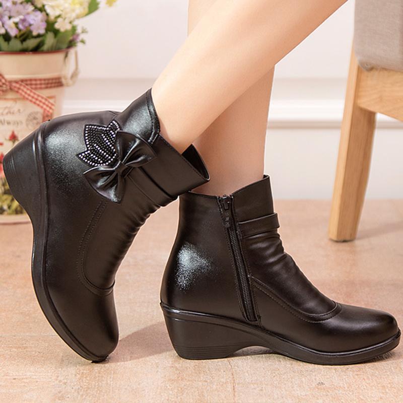 Mujeres Nieve Cuero 2019 Felpa Cuñas Botas Impermeables Cremallera Arco De Nudo Zapatos Botines Dividido Con Invierno 0PnOkXw8