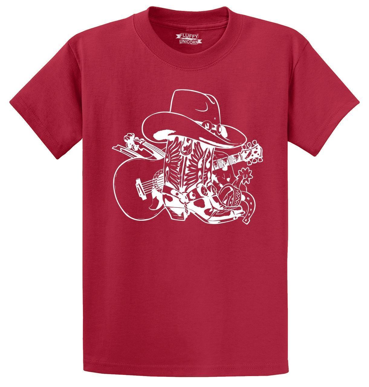 fee92b55b90 Compre Botas De Vaquero Para Hombre Sombrero De Vaquero Guitarra Gráfico De  Música Country Camiseta Hombres Mujeres Unisex Camiseta De Moda Envío  Gratis A ...