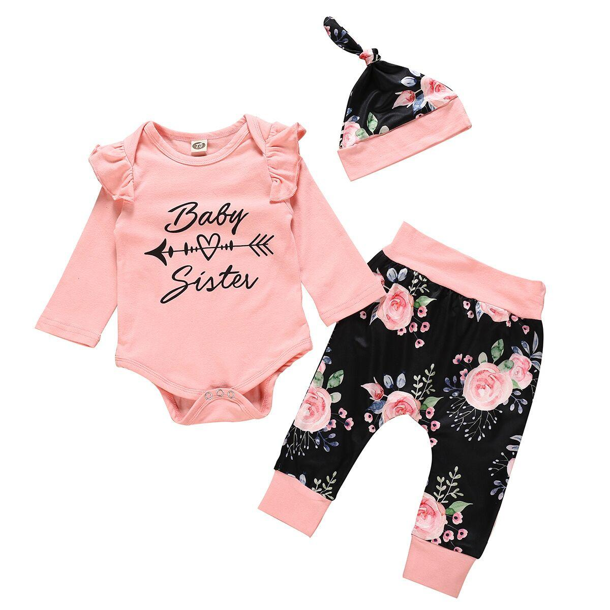 INS autumn newborn girls long sleeve Romper Pant set Arrow romper Tops+Flower pants+hats 3pcst baby girl clothes