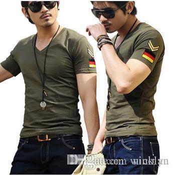 Free Shipping Men brand T-Shirts man printing military t shirts citi trends fashion V-neck t shirt plus size 5 size M-XXXL