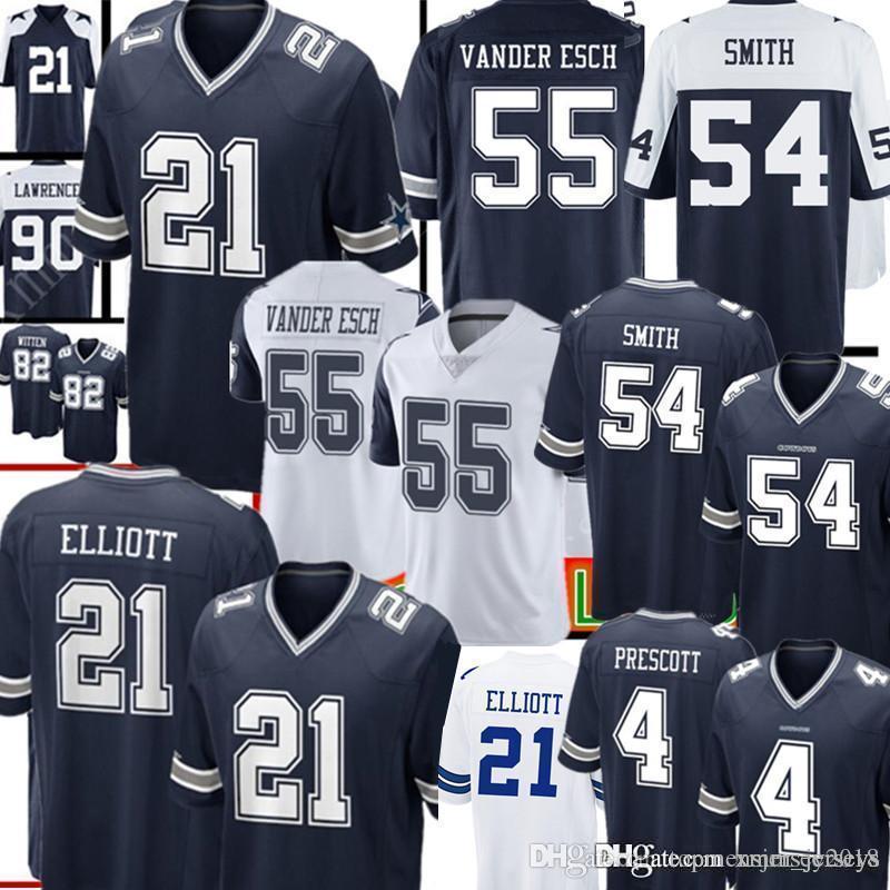 new concept e28d6 4c186 Dallas Cowboys 21 Ezekiel Elliott Jersey Mens 55 Leighton Vander Esch 54  Jaylon Smith 4 Dak Prescott 90 DeMarcus Lawrence Jerseys