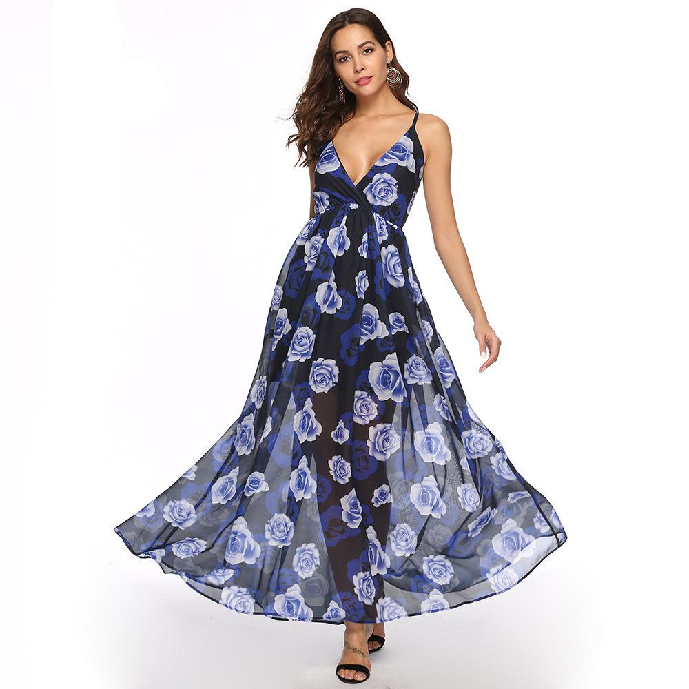 efd6396d5 New Women S Clothes Sexy Dew Back Chiffon Printing Large Pendulum ...