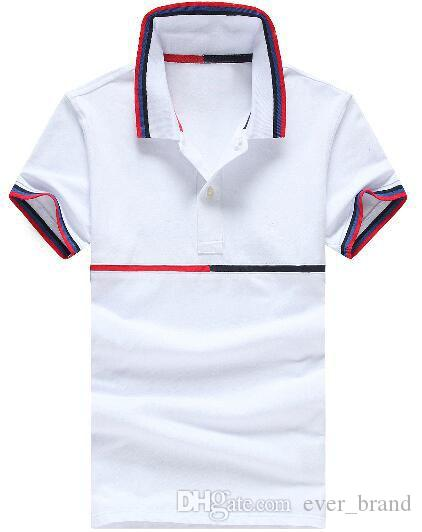 37370a0b 2019 Luxury US Brand Men Classic Polo Shirts Middle Striped Cotton Polos  Short Sleeve Sport Racing Tshirt Tees Tops White Gray Size M XXL From  Ever_brand, ...