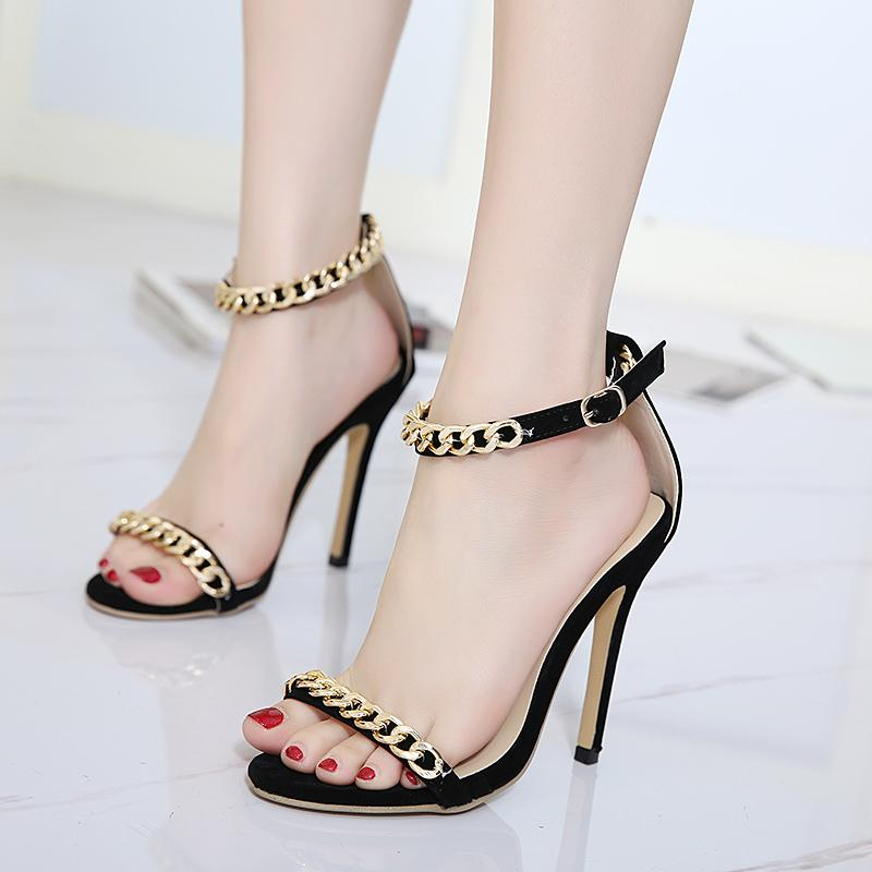 Teahoo 2018 Summer Gold Chain Open Toe Thin High Heels Women Sandals Fashion Lace Up Pumps Party Sexy Shoes Woman
