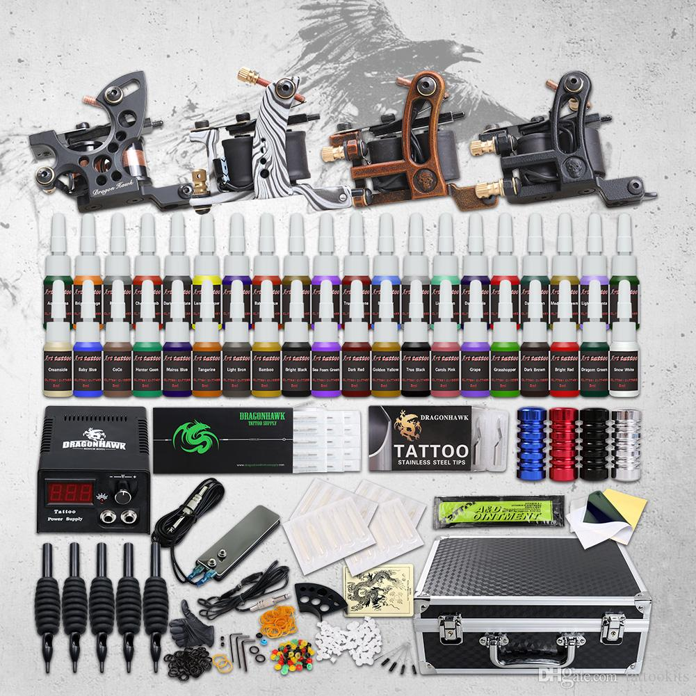 High quality complete Tattoo Kit 4 Top Machine Gun 40 Color Ink Power  Supply Needle best price D139GD-15