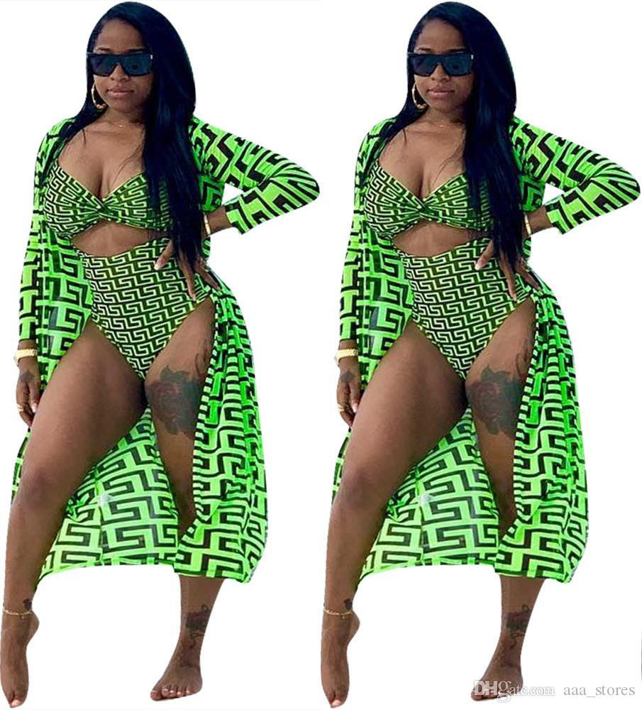 2 Pieces Set Sexy Summer Fashion Women 2019 New Female Tops Print Long Sleeve Cardigan And Bodycon Elastic Waist Bodysuit Suits Swim Wear