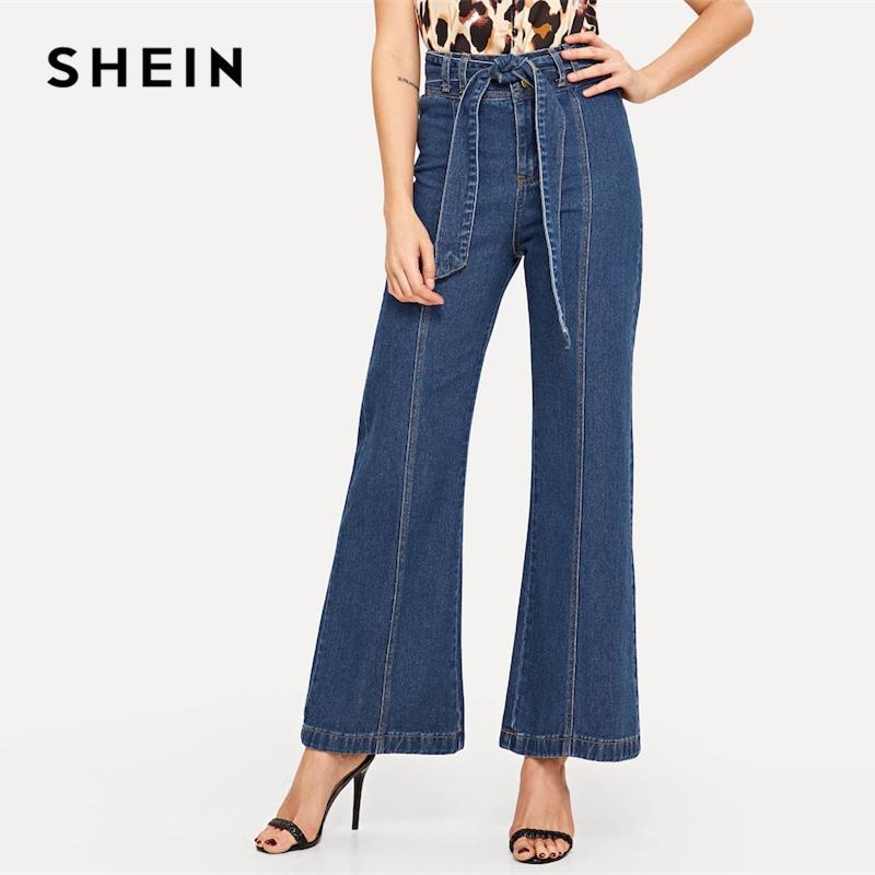 469d5b5f89 2019 SHEIN Waist Belted Wide Leg Flare Denim Jeans Women Elegant OL Work  2019 Spring Loose Solid High Waist Workwear Trousers From Vikey16, $67.84 |  DHgate.