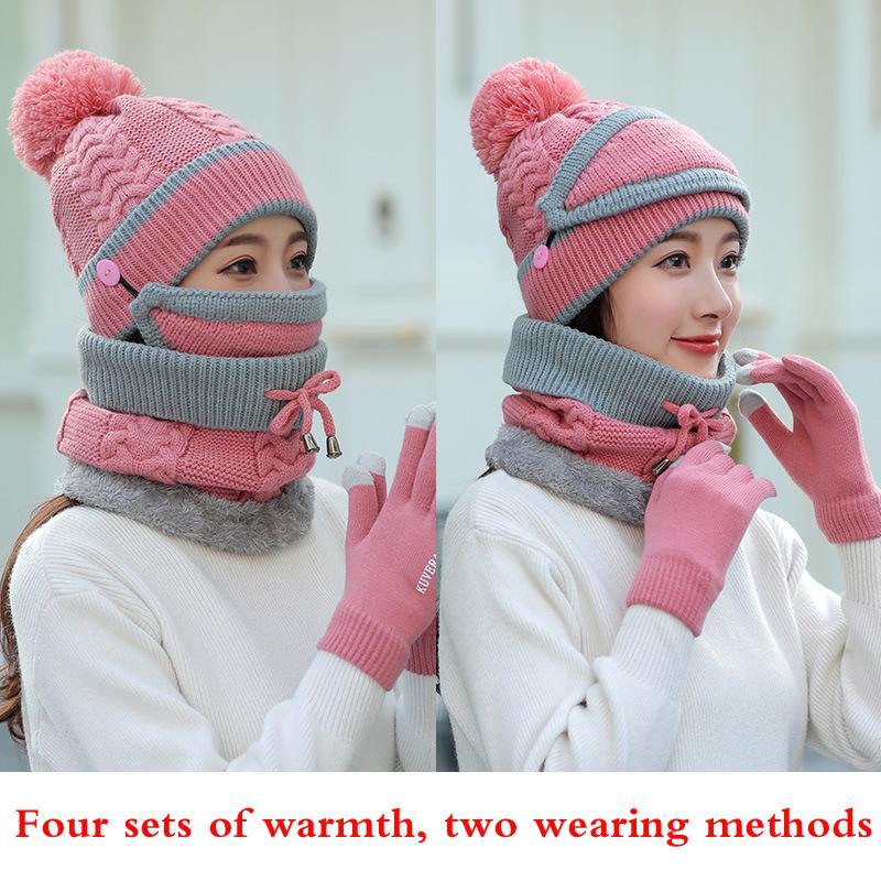 Acquista Quattro Set Di Cappelli Da Uomo E Da Donna In Autunno E Inverno  Calore Moda Sciarpe A Maglia afe0d41ef015