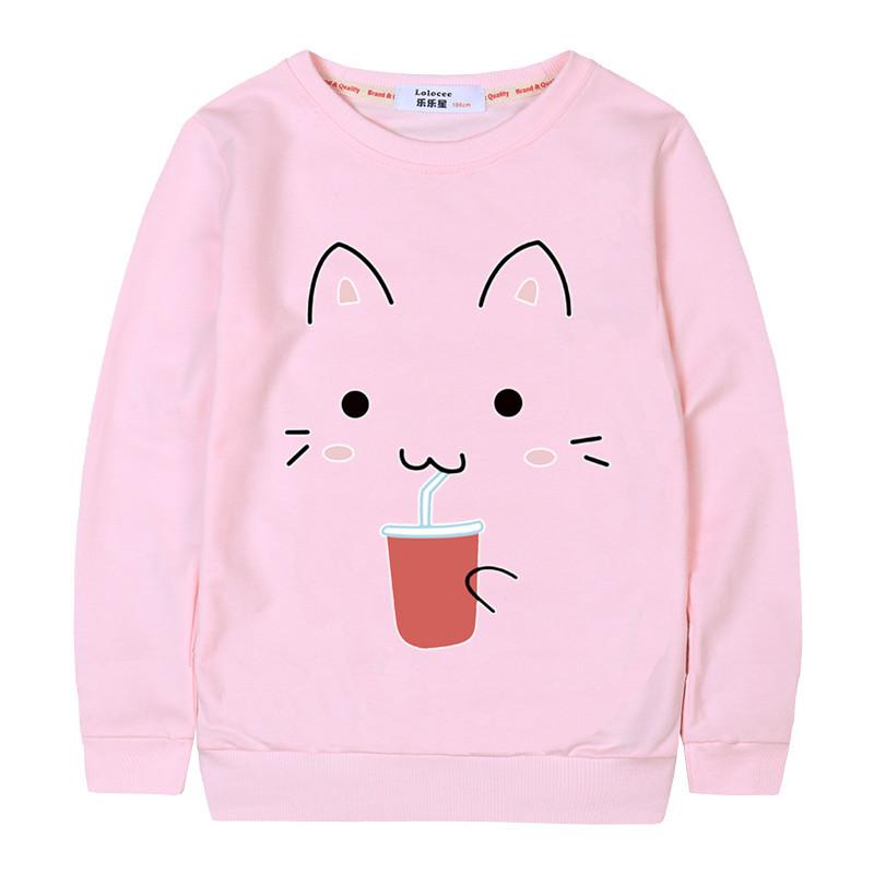 Cat Printing Girls Sweatshirt Long Sleeve 2018 Winter Pullover Loose Kids Hoodies Sweatshirt Dropshipping Student