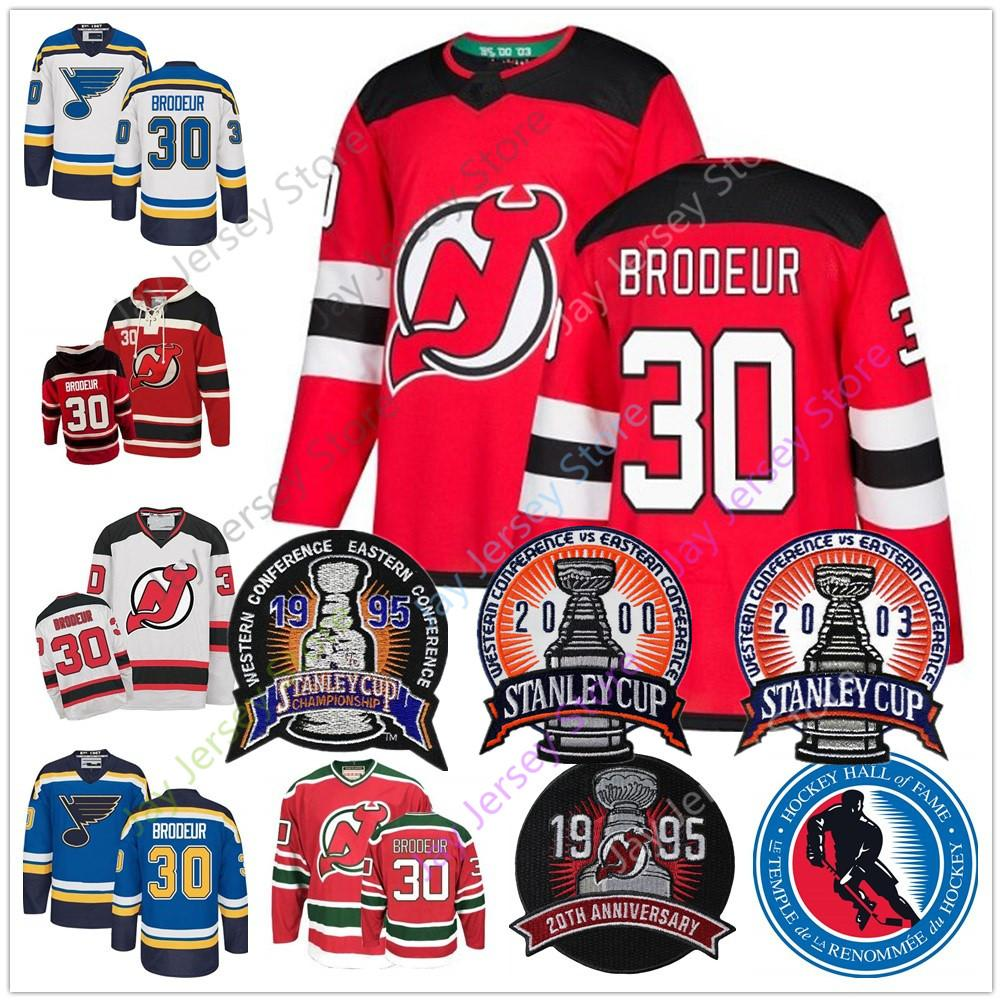 online store a633d 65c6a Martin Brodeur Jersey With 1995 2000 2003 Stanley Cup & 2018 Hall Of Fame  Patch New Jersey Devils St. Louis Blues Jerseys Hoody