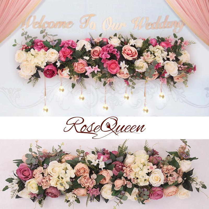 ba97a5650eec Compre Flor Artificial Fila De Bricolaje Flor De Seda Hortensia Peonía Rosa  Flor Boda Arco Road Lead Home Hotel Party Decor DIY Flores A  45.3 Del ...